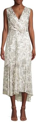 Elie Tahari Brittney Floral Lace Eyelet Midi Wrap Dress
