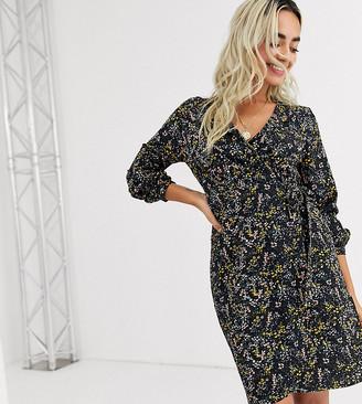 Vero Moda Petite floral lace insert wrap dress