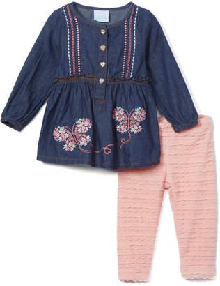 Nannette Kids Girls' Leggings BLUE - Blue Butterfly Denim Button-Front Top & Pink Stripe Pants - Infant