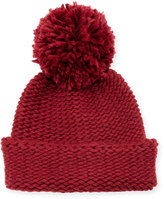 Portolano Wool-Blend Pompom Cuff Hat, Bordeaux