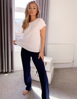 Tommy Hilfiger Essentials loungewear t-shirt and jogger set in white & navy
