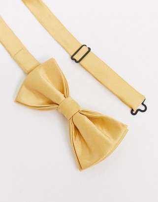 Devils Advocate satin bow tie in yellow