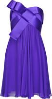 Ribbon-trimmed silk-chiffon dress