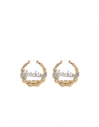 Moschino Hoop Earrings Crystal Logo