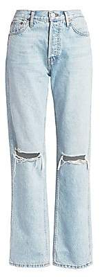 RE/DONE Women's High-Rise Ripped-Knee Loose Jeans