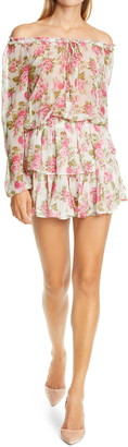 LoveShackFancy Floral Print Popover Long Sleeve Silk Minidress