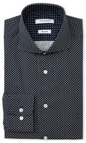 Isaac Mizrahi Navy Slim Fit Diamond Pattern Dress Shirt