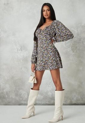 Missguided Floral Print Milkmaid Skater Dress