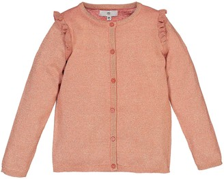 La Redoute Collections Cotton Mix Ruffled Cardigan with Crew-Neck, 3-12 Years