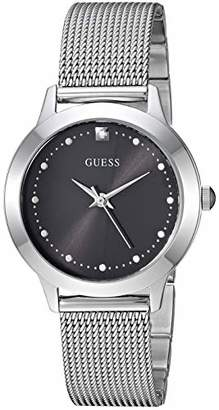 GUESS Stainless Steel Mesh Bracelet Watch with Black Genuine Diamond Dial. Color: (Model: U1197L1)