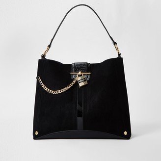River Island Womens Black gold chain padlock slouch bag