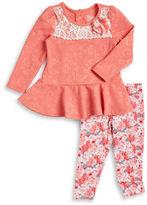 Nannette Girls 2-6x Floral Embossed Dress and Leggings Set