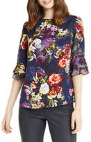 Oasis Photographic Floral Flute Sleeve Top, Navy