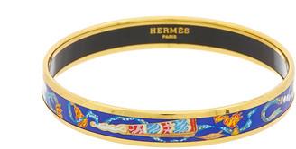 Hermes Gold-Plated & Blue Enamel Narrow Bangle