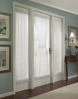 """Batiste Sheer French Door Curtain Panel with Tieback by GoodGram® (White, 56"""" in. Wide x 72"""" in. Long)"""