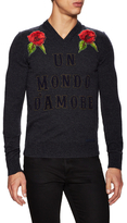 Dolce & Gabbana Wool Embroidered V-Neck Sweater