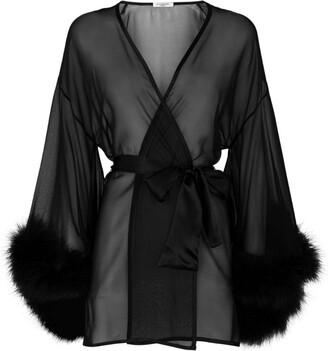 Gilda and Pearl Marabou Trim Kimono Robe
