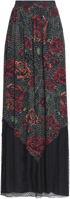Just Cavalli Point D'esprit-paneled Shirred Printed Georgette Maxi Skirt