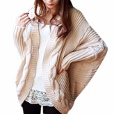 QIYUN.Z Women Solid Winter/Fall Sweater Cardigan Batwing Sleeve Jacket Knitwear Chandail