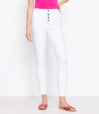 LOFT High Waist Skinny Crop Jeans in White