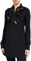 Chiara Boni Maike Paillettes Long-Sleeve Sequin Bib Top