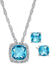 Charter Club Silver-Tone Aqua Crystal Pavé Necklace and Earrings Set, Only at Macy's