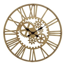 Cosmoliving Industrial Style Metal Round Gear Wall Clock with Roman Numerals