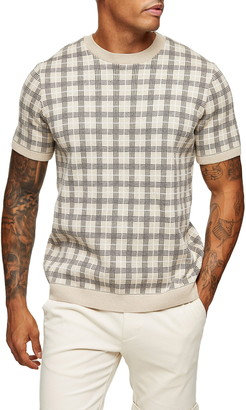 Topman Check Short Sleeve Crewneck Sweater