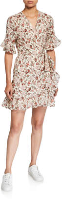 WAYF Kaitlyn Floral Ruffle-Trim Mini Wrap Dress