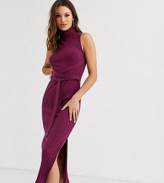 Asos Tall DESIGN Tall extreme rib sleeveless tie front midi dress-Black