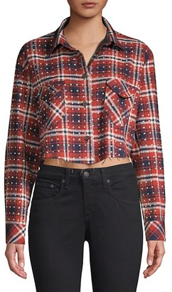 Frankie B. Rhinestone Flannel Plaid Button-Down Shirt