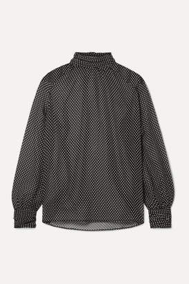Nili Lotan Alana Polka-dot Silk-chiffon Turtleneck Blouse - Black