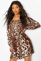 boohoo Leopard Off Shoulder Belted Shirt Dress