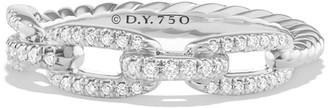 David Yurman Stax Pave Diamond Chain Link Ring in 18K White Gold, Size 7