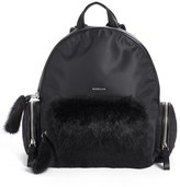 Moncler 'Florine' Genuine Rabbit Fur Trim Backpack - Black