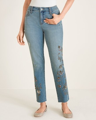 Chico's So Slimming Beaded Vine Girlfriend Ankle Jeans