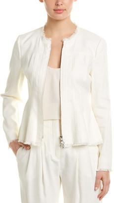 Rebecca Taylor Fringe Linen-Blend Jacket