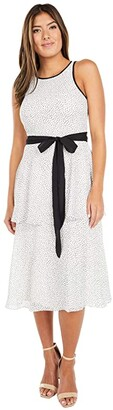 Adrianna Papell Polka Dot Printed Chiffon Tiered Dress (Ivory/Black) Women's Dress