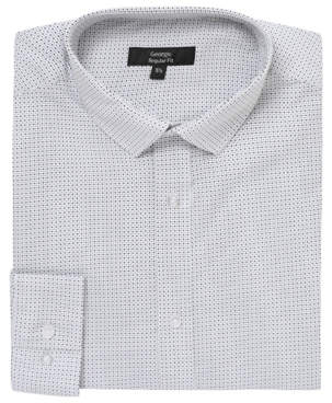 George White Micro Pattern Long Sleeve Regular Fit Shirt