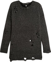 R 13 Distressed open-knit sweater