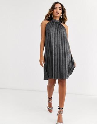 Y.A.S halter neck metallic pleated mini dress
