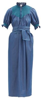 Loretta Caponi Elena High-neck Smocked Cotton Dress - Dark Blue