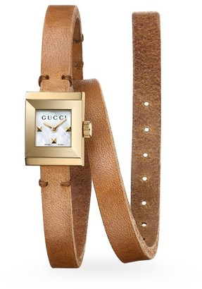 Gucci G-Frame Leather Wrap Strap Watch