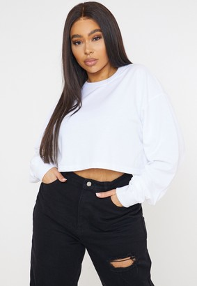 Missguided Plus Size White Cropped Sweatshirt