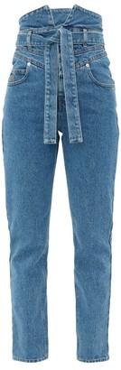 ATTICO Paperbag-waist Slim-leg Jeans - Denim