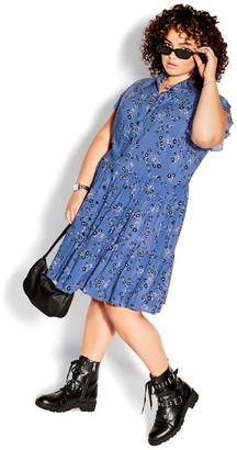 City Chic Blue Meadow Dress - blue