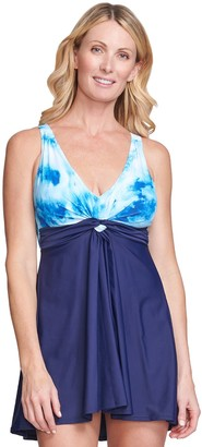 Women's Mazu Swim Tie-Dye Knot One-Piece Swim Dress