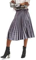 Topshop Petite Women's Pleated Velvet Midi Skirt