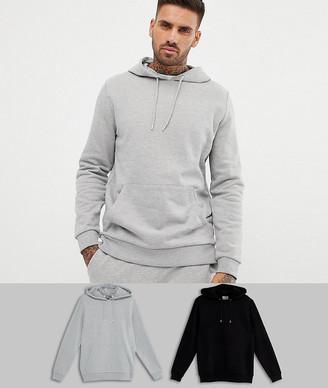 Asos DESIGN hoodie 2 pack black/gray marl