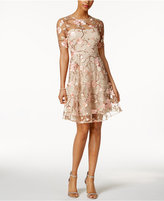 Jax Embroidered Floral Illusion Dress